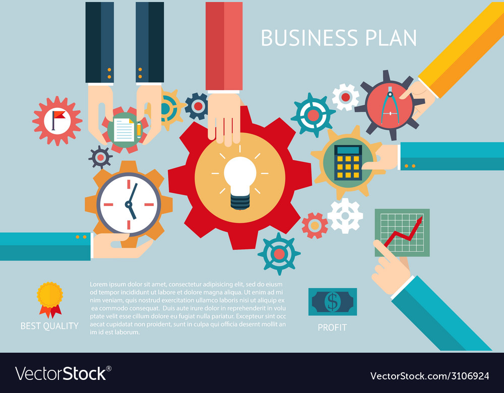 Business plan gears company team infographic work