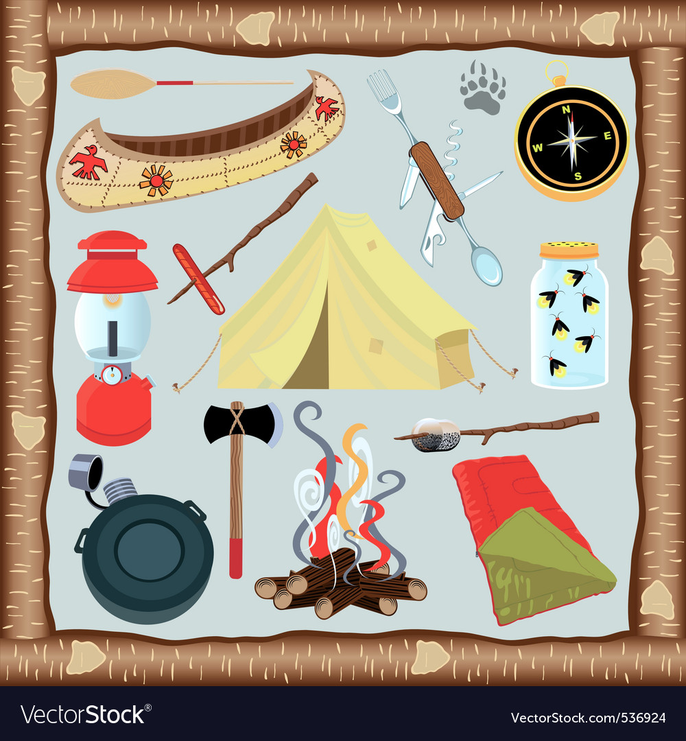 Camping icons and elements