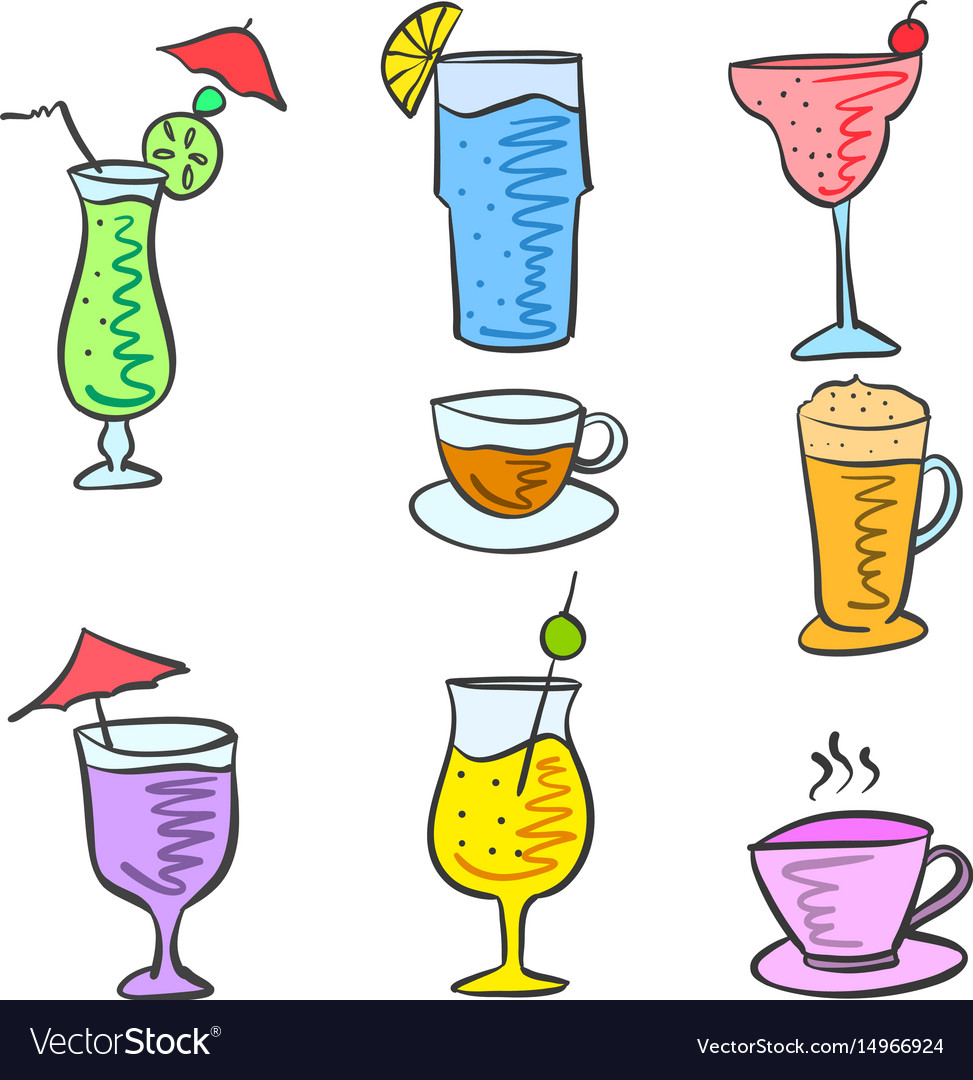 Cartoon design drink doodle set vector image