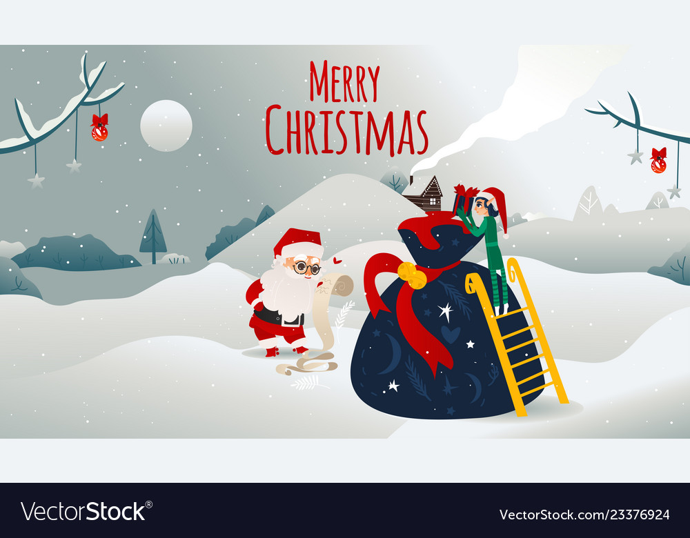 Cartoon santa claus presents boxes bag