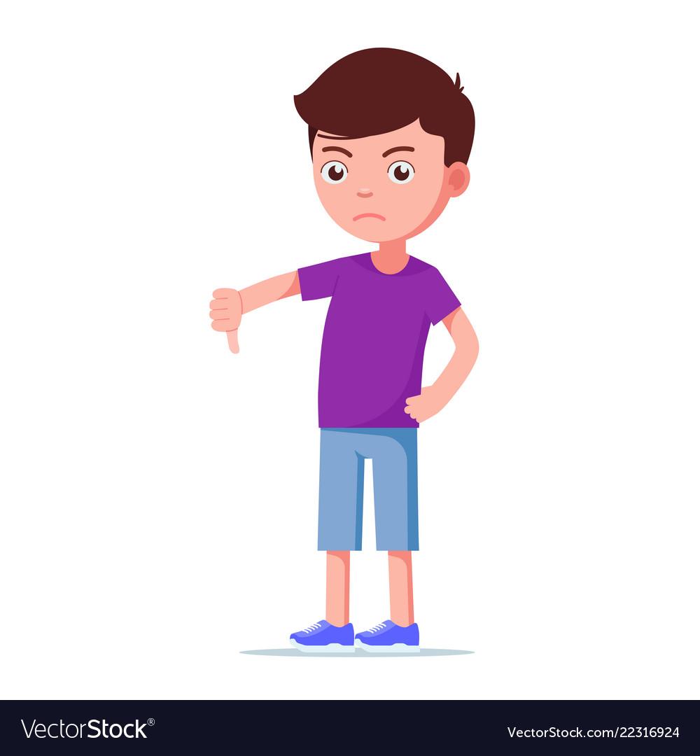Cartoon unhappy boy showing thumbs down