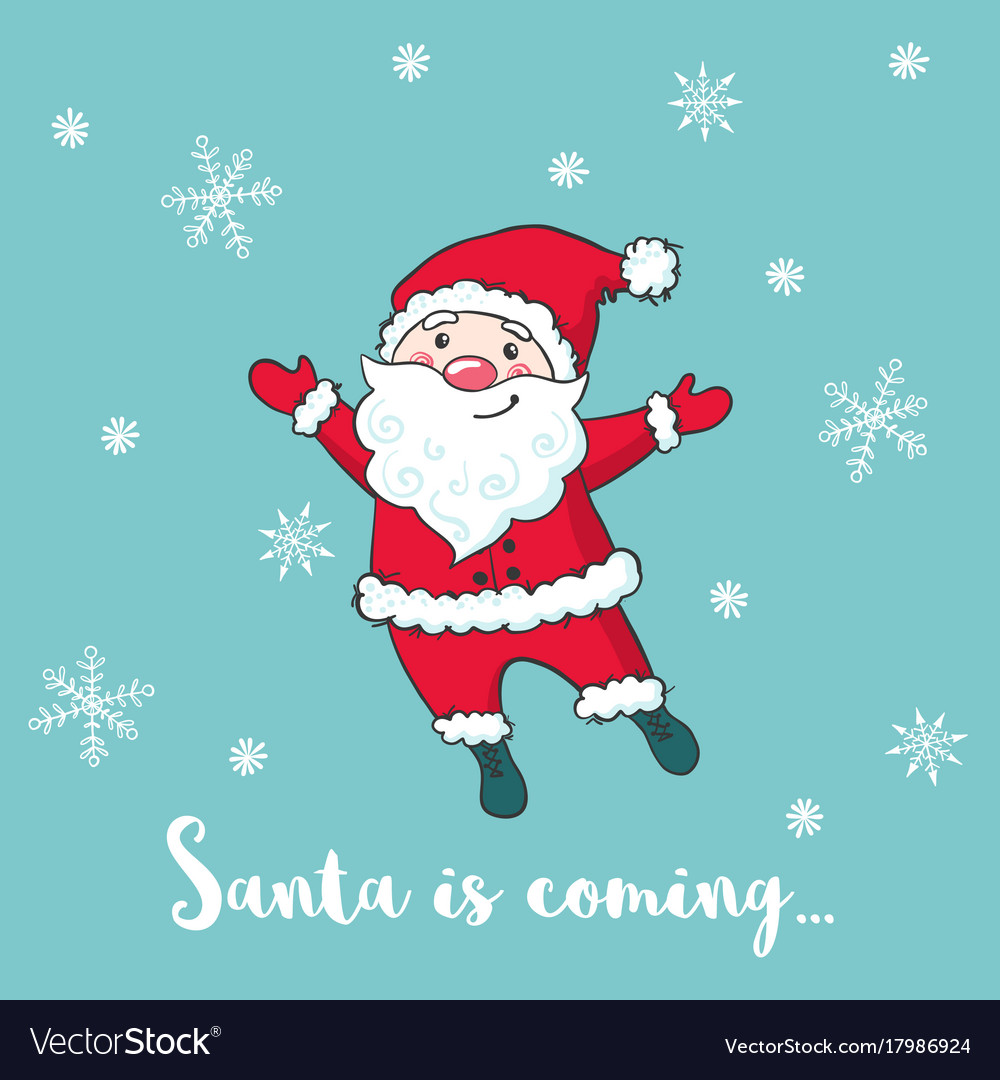 Christmas greeting card with cute santa claus vector image m4hsunfo