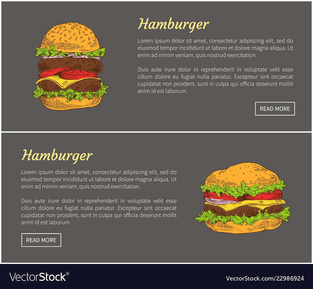 Hamburgers food posters set