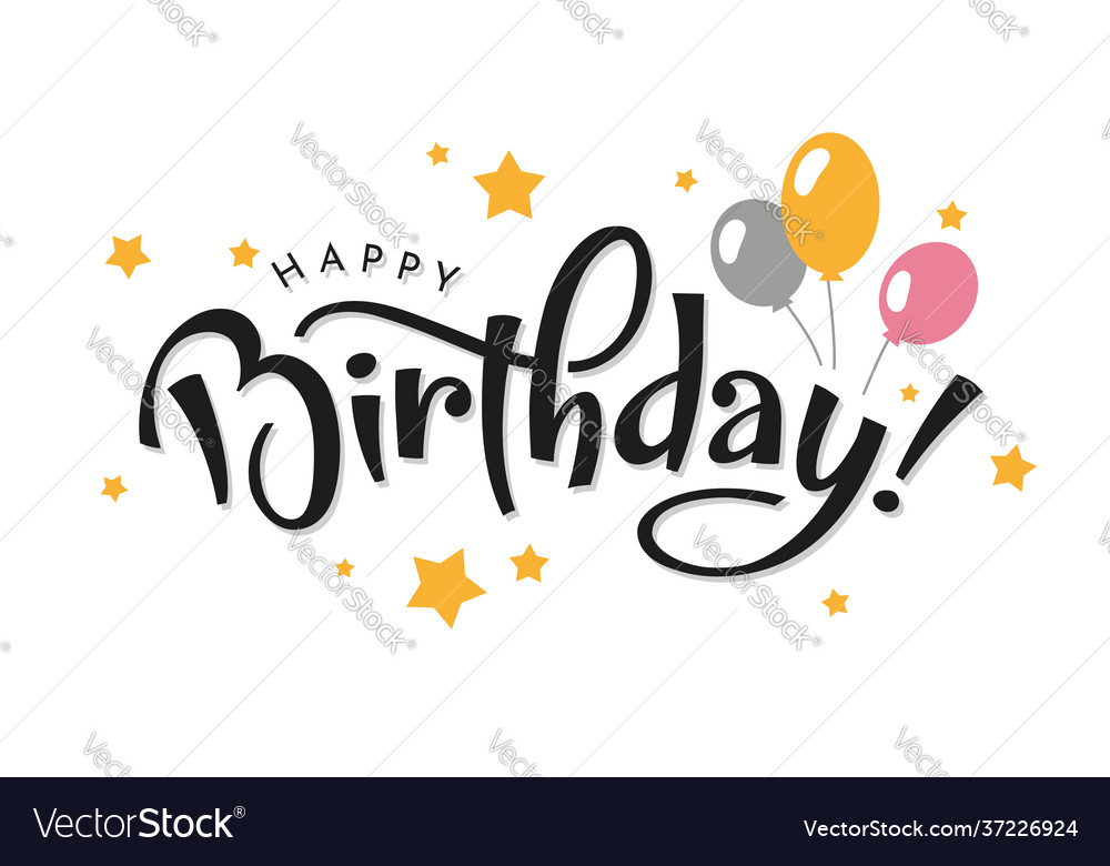 Happy birthday lettering with balloons vector