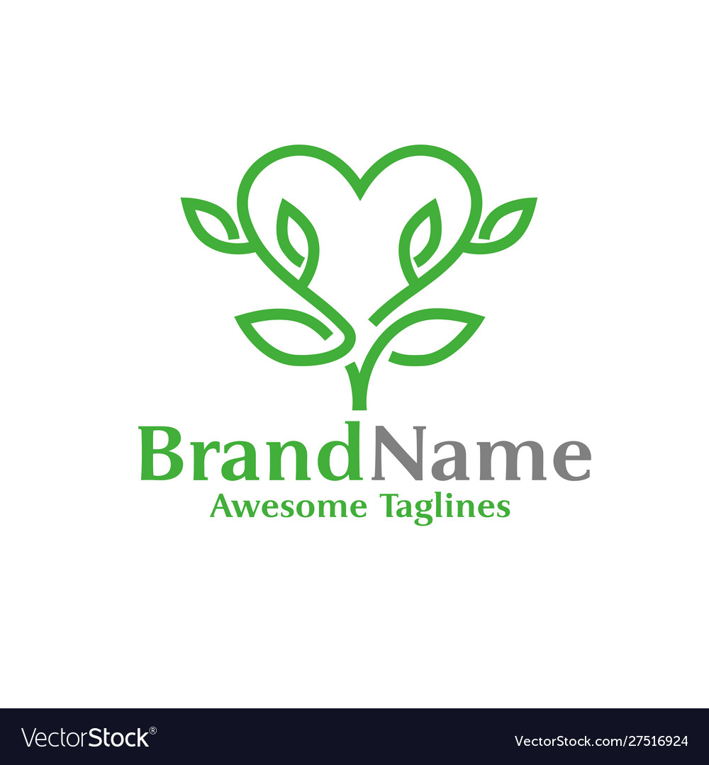 Heart or love made from green leaves logo