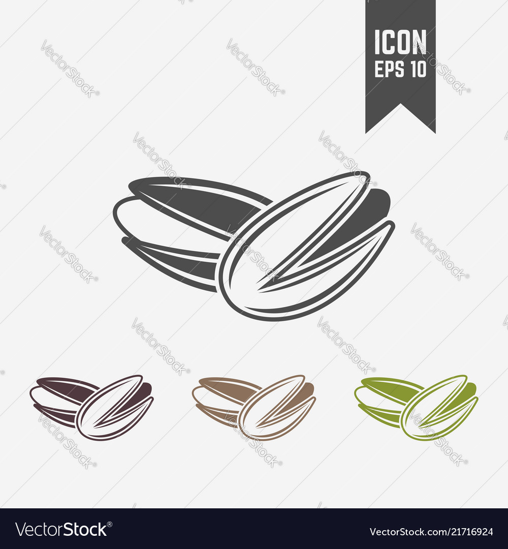 Pistachio isolated black and colored icons