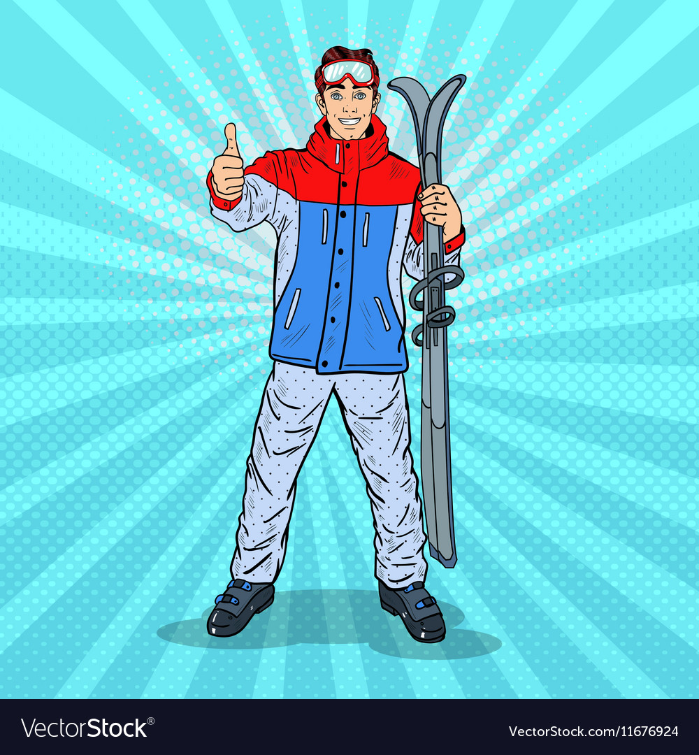 Pop Art Man on Ski Holidays Gesturing Thumb Up vector image