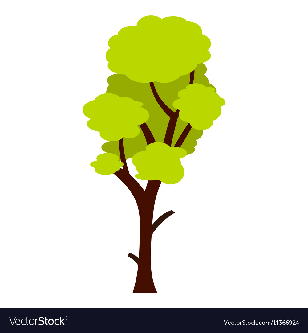 Tall green tree icon flat style
