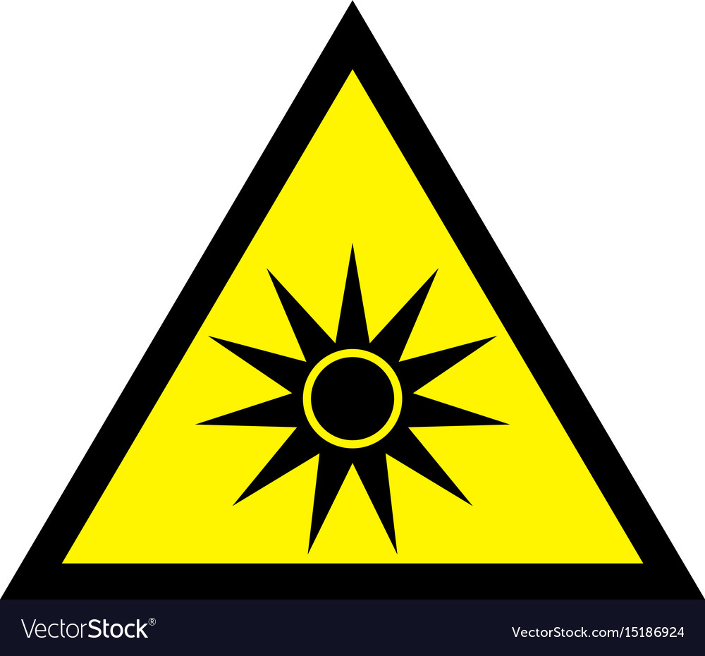 Uv yellow safety sign - uv warning sign vector image