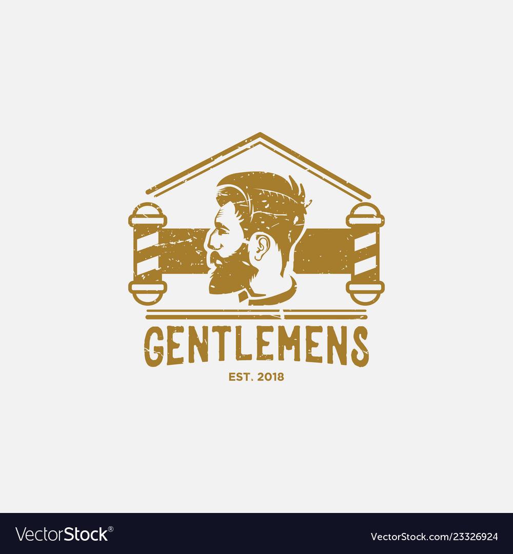 Vintage men barber shop logo design inspiration