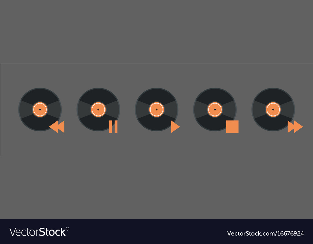 Vynil disk music player volume icon set audio