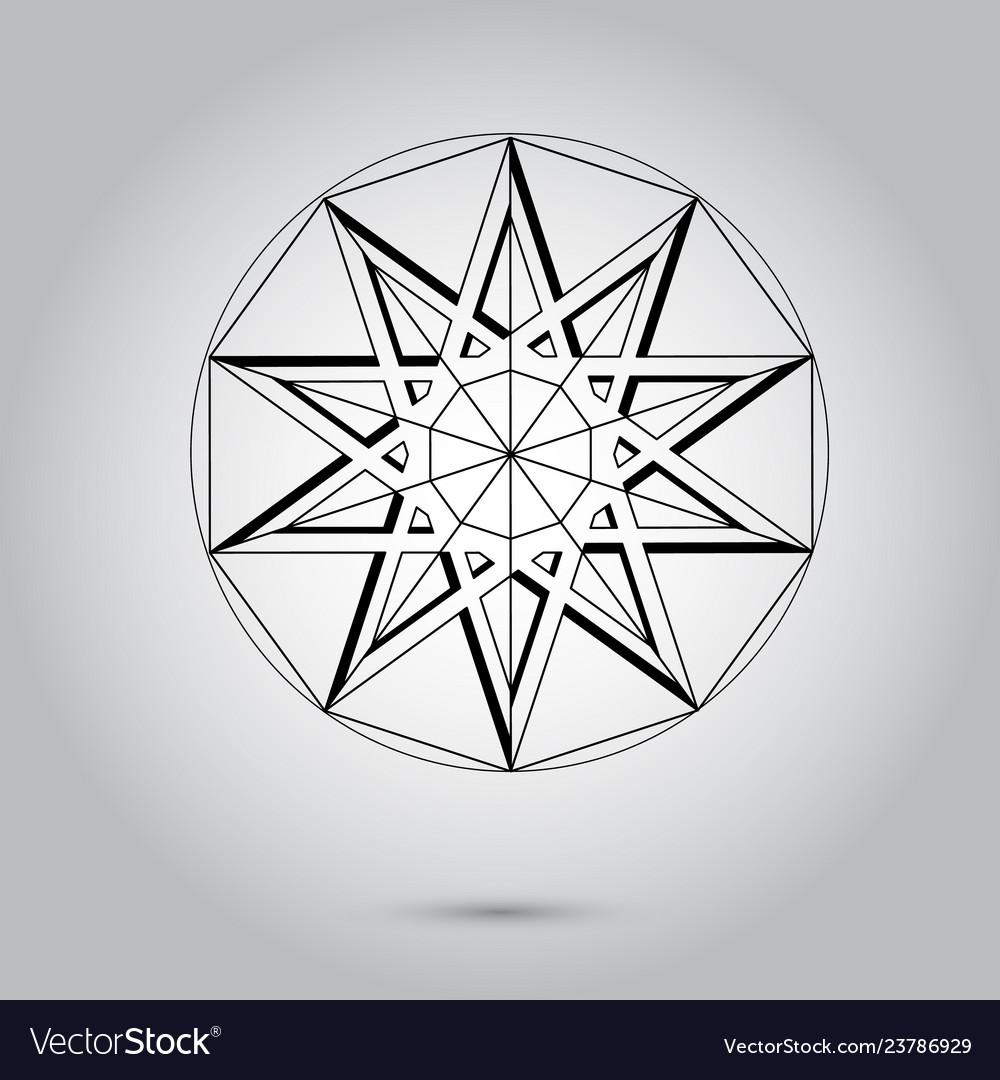 Abstract minimal black and white star for design