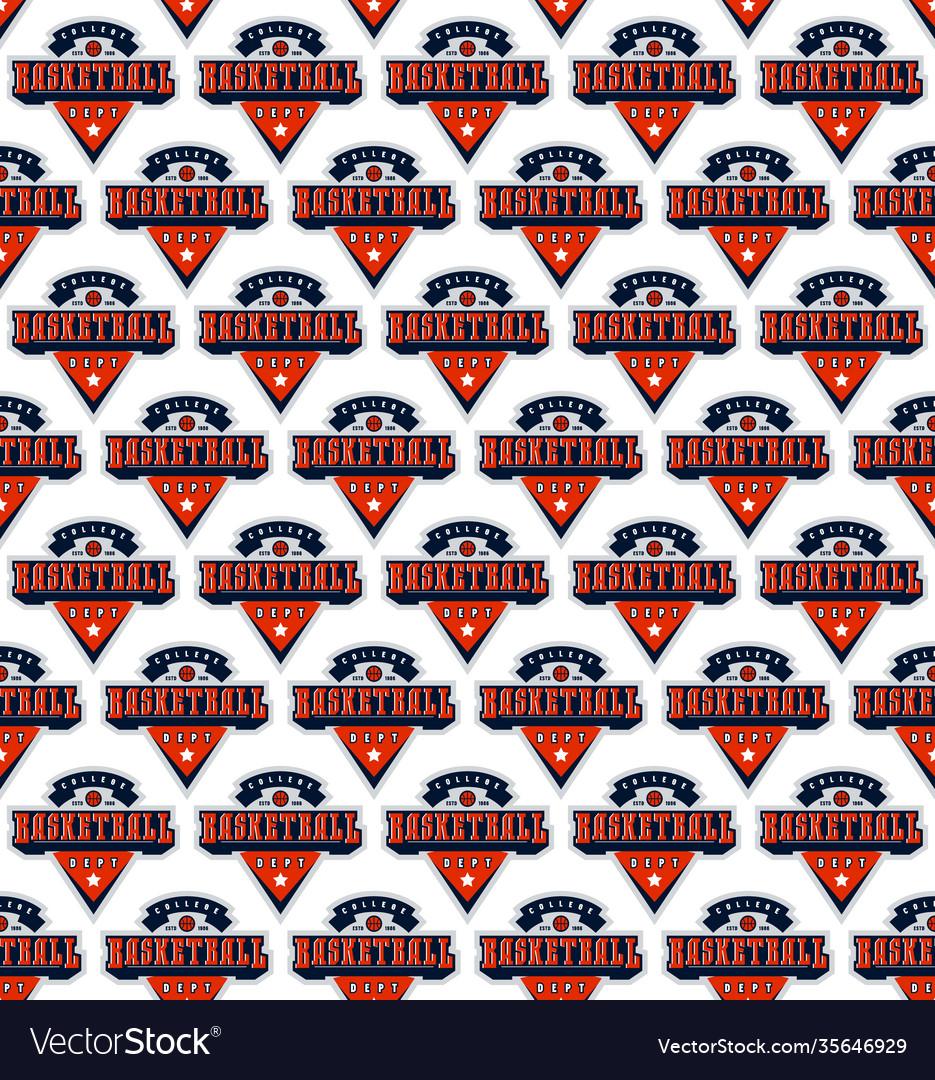 Basketball college team seamless pattern
