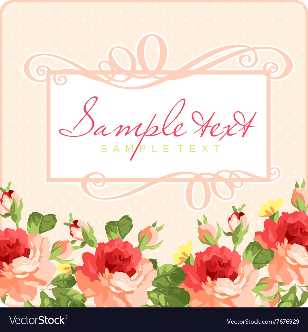 Beautiful Greeting card with frame and pink roses