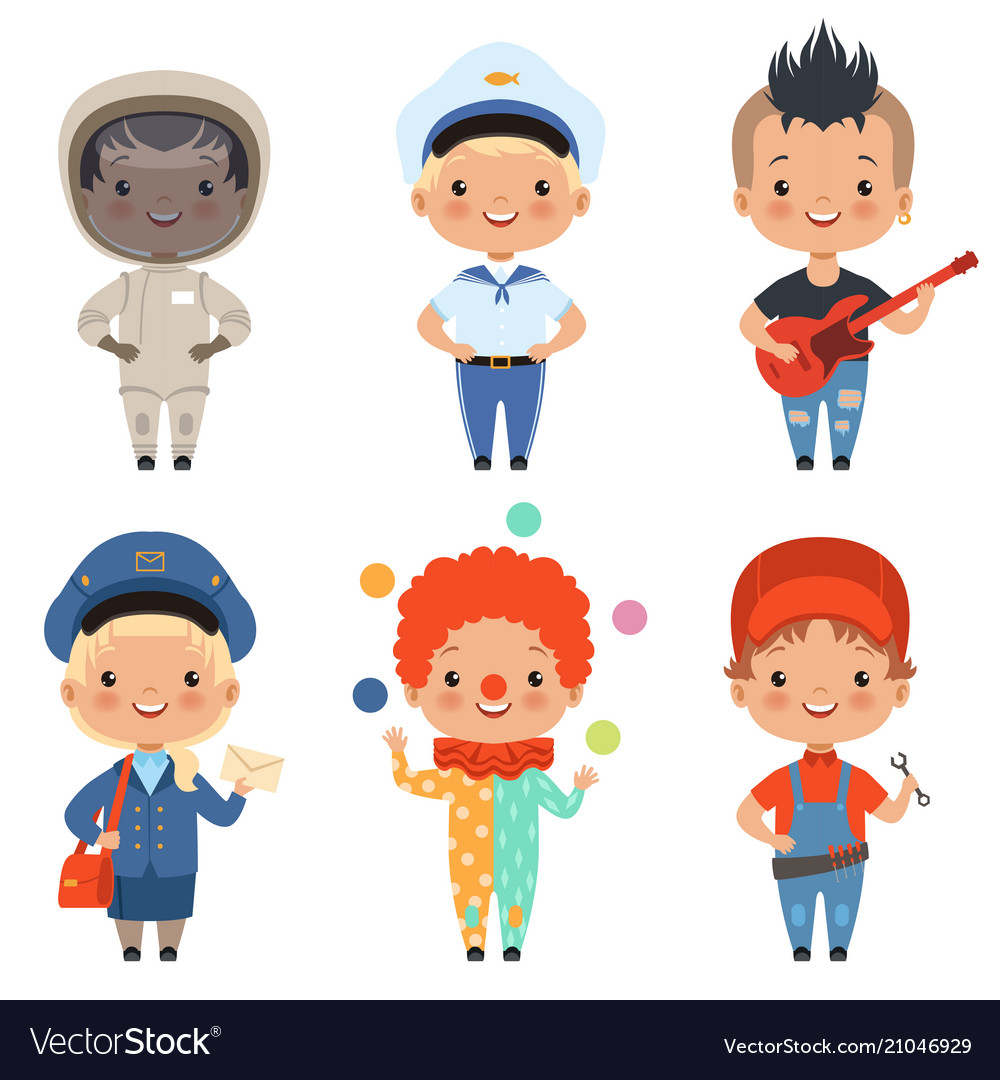 Cartoon of kids at different