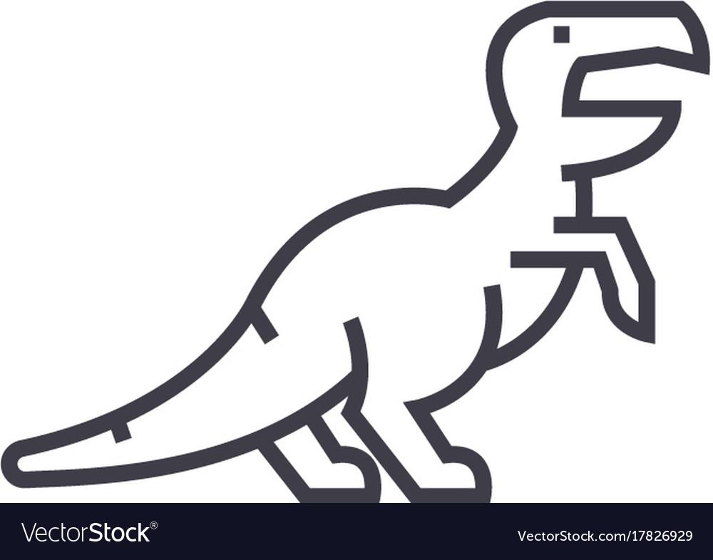 Dinosaurraptortyrannosaurus line ico vector image