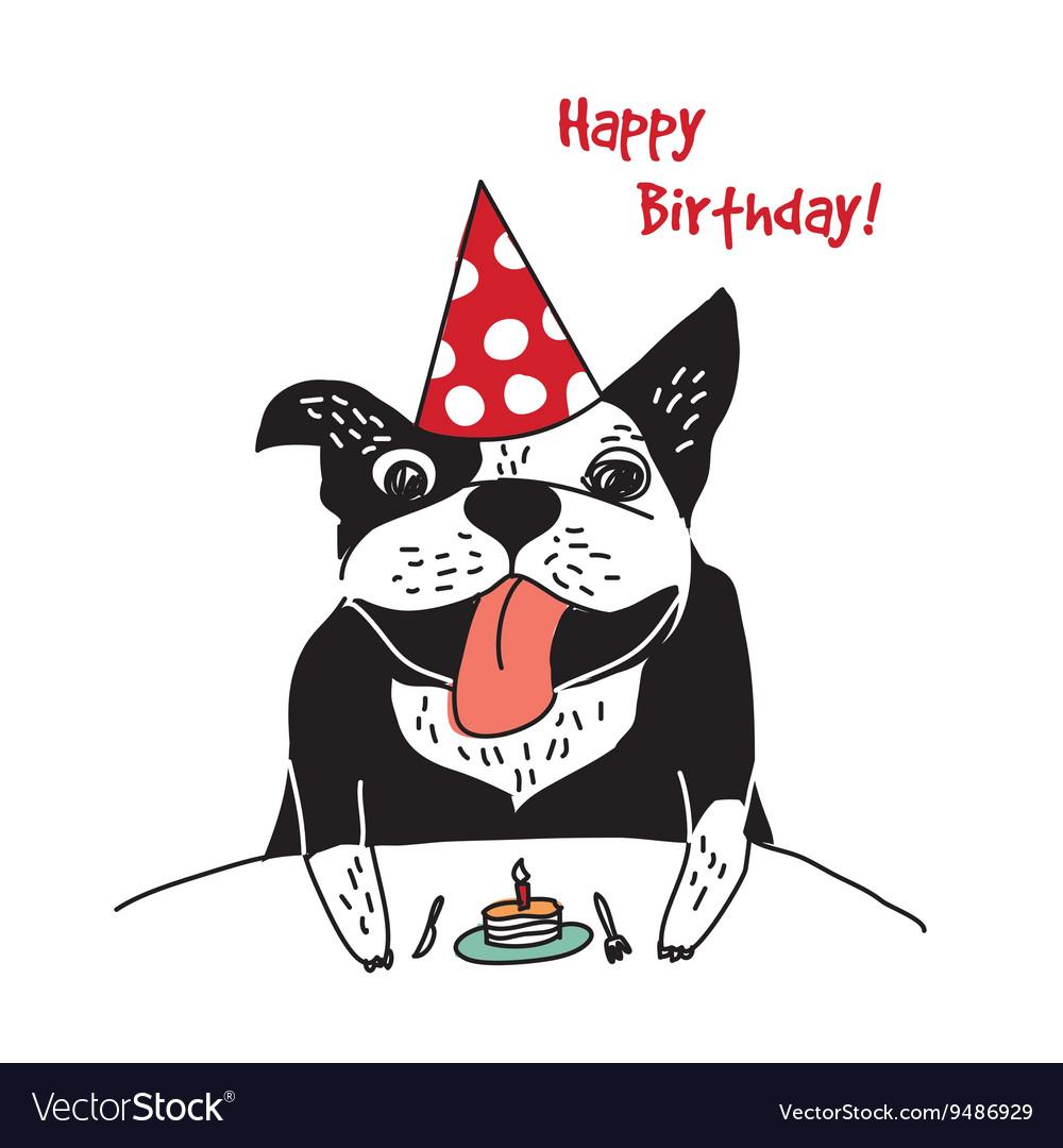 Dog French bulldog happy birthday cake greeting