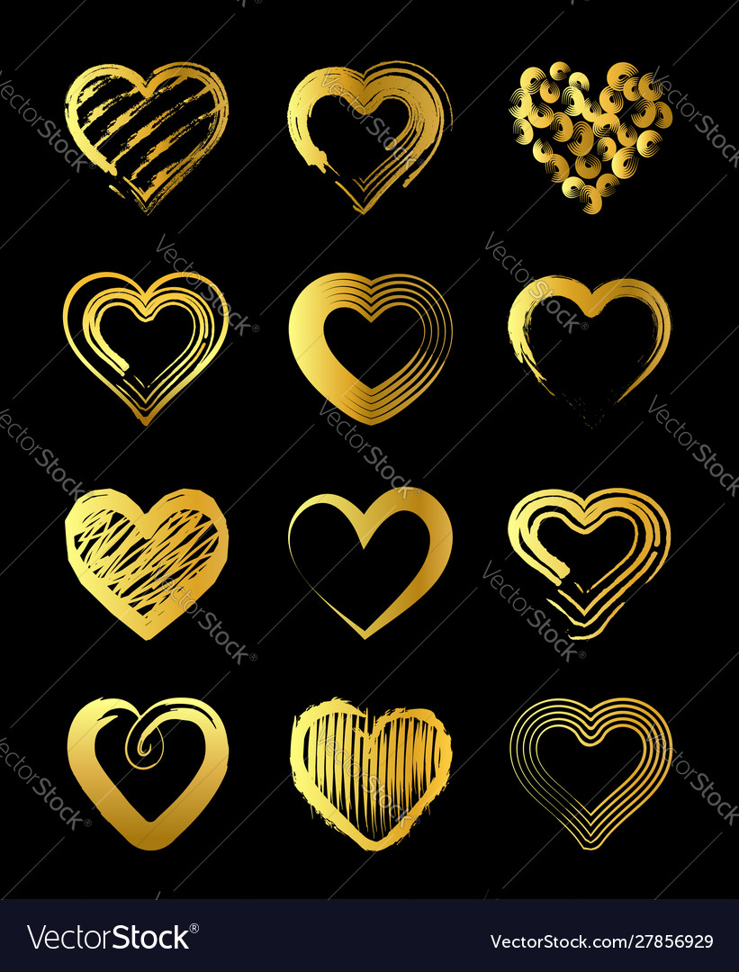 Golden hearts for valentines day