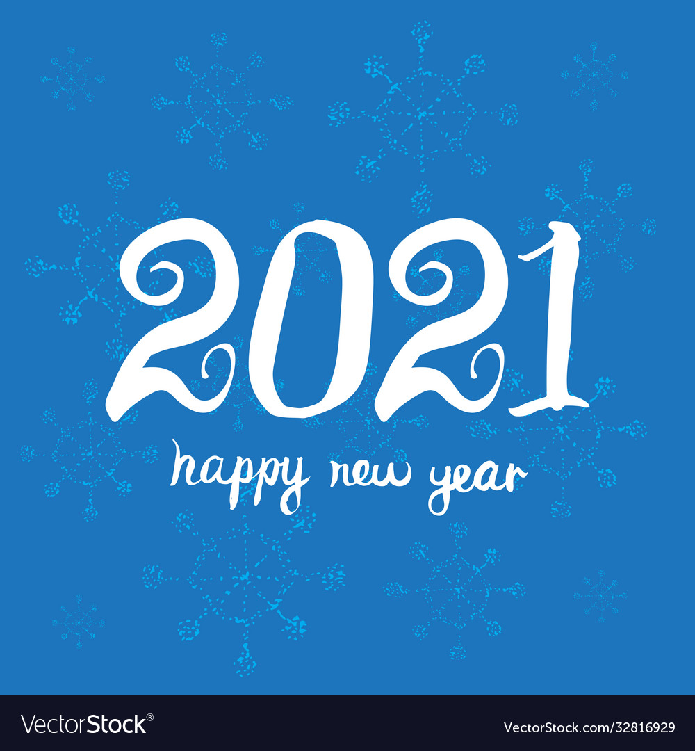Greeting Card Design Template Happy New Year 2021 Vector Image
