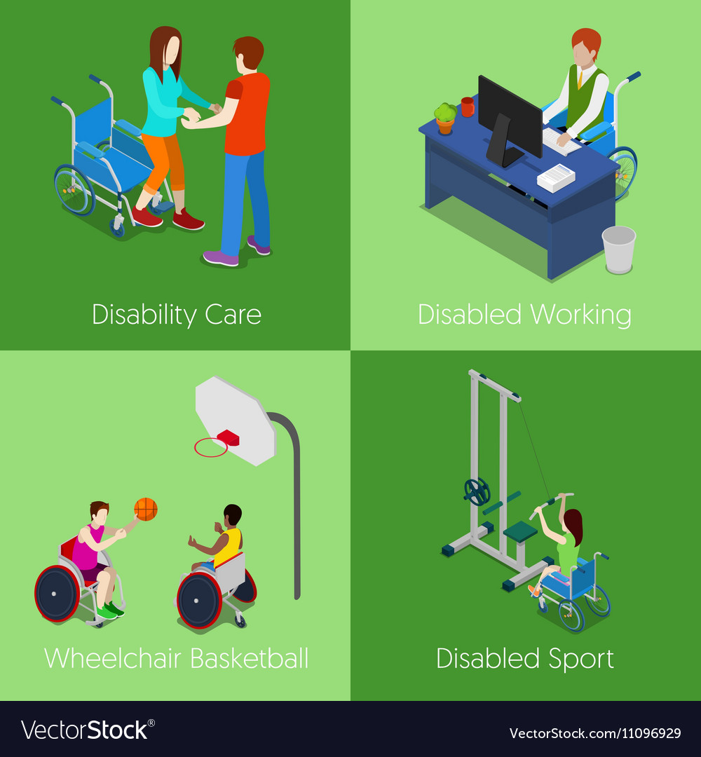 Isometric Disabled People Disability Care