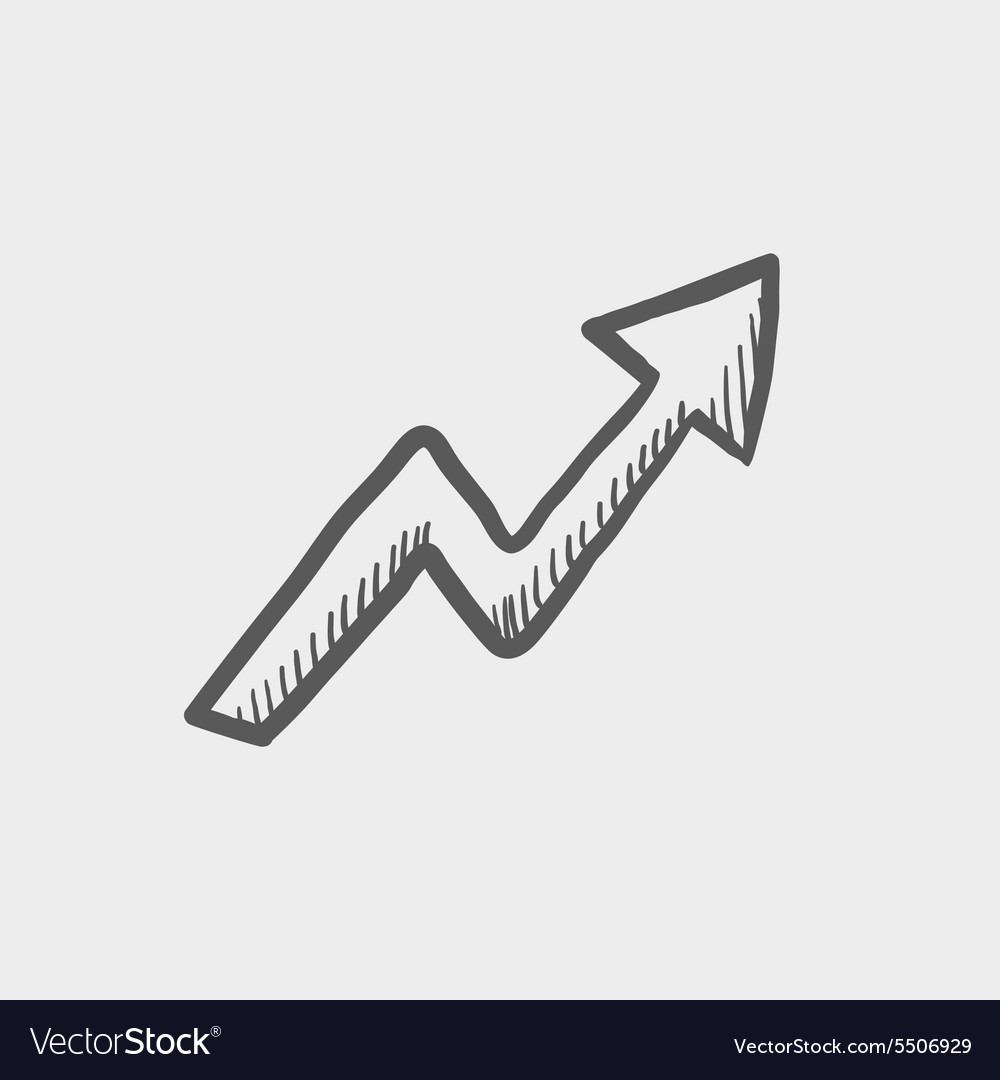 Lightning arrow upward sketch icon vector image