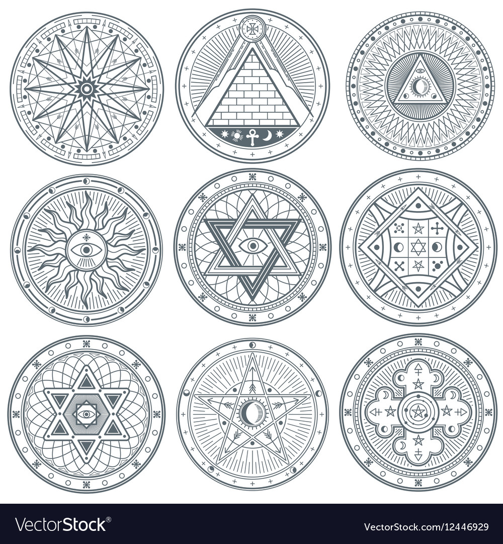 Mystery witchcraft occult alchemy mystical vector image
