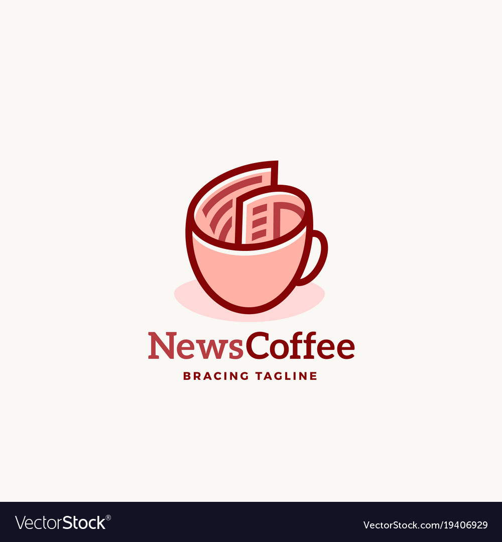 News coffee abstract sign emblem or logo