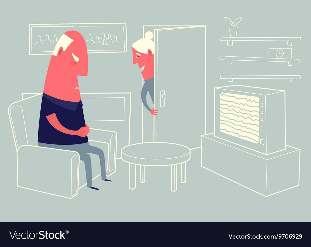 Old woman looking at sleeping husband vector image