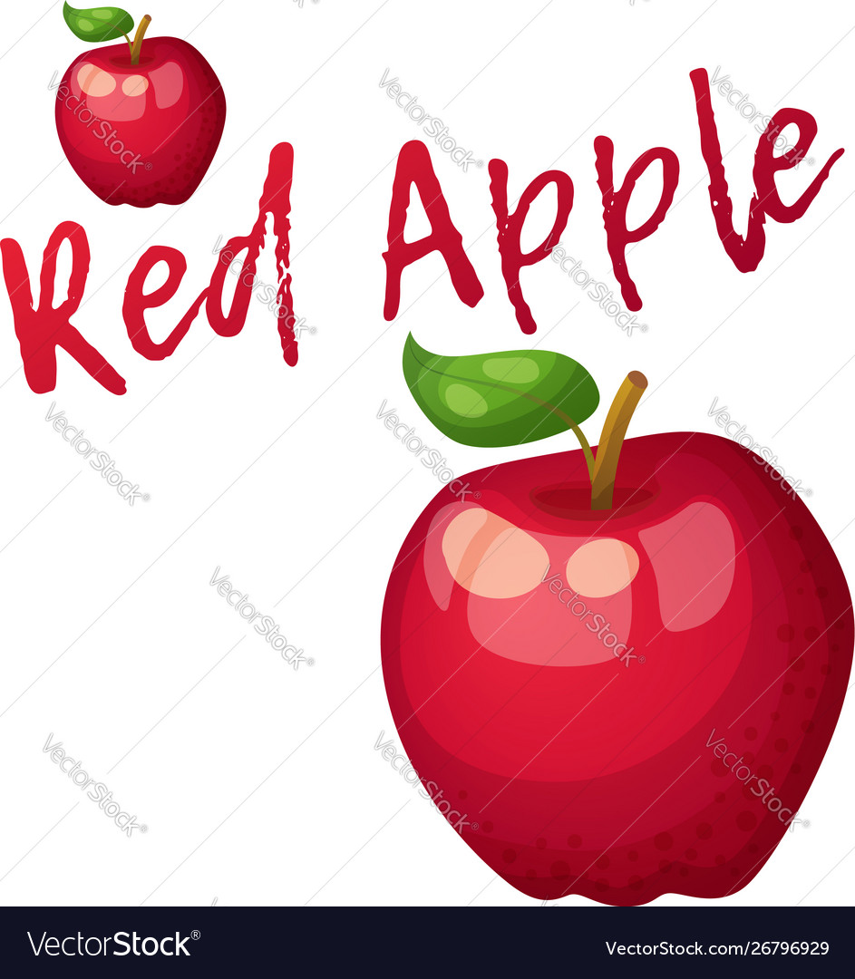 Red apple fruit cartoon icon isolated