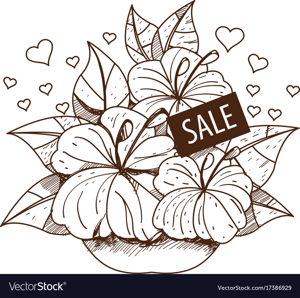 Sale bouquet of flowers outline drawing for design sale bouquet of flowers outline drawing for design vector image izmirmasajfo