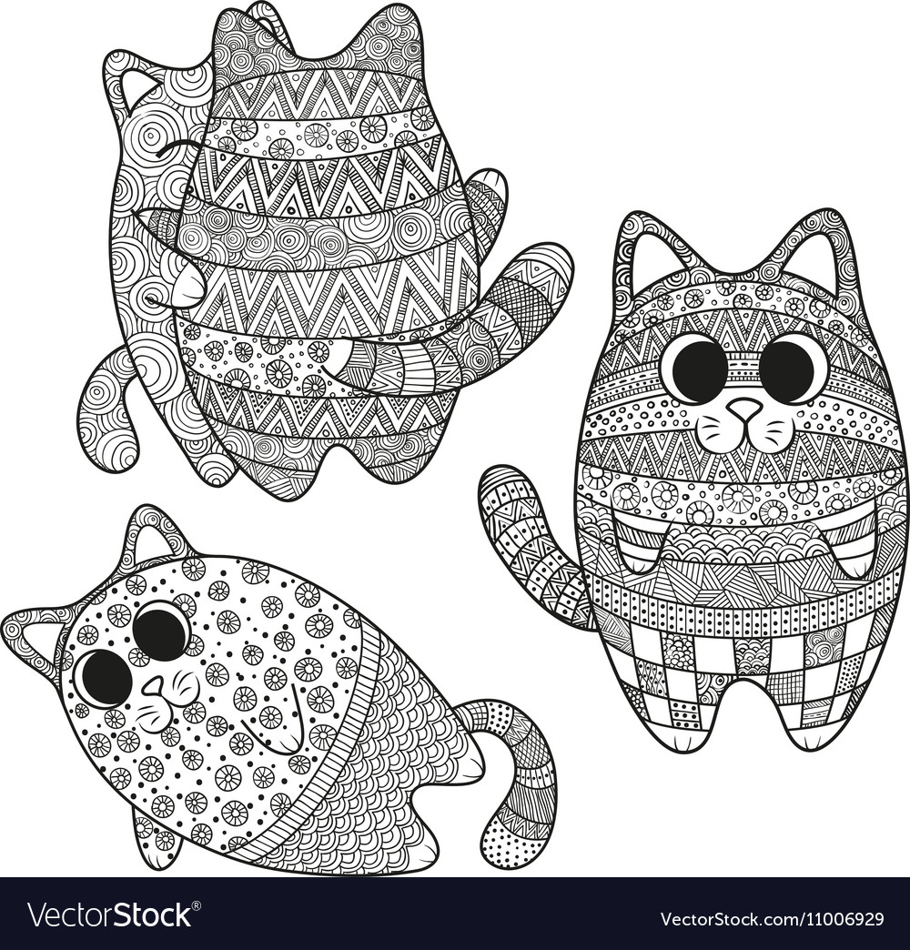 Set of boho cats vector image