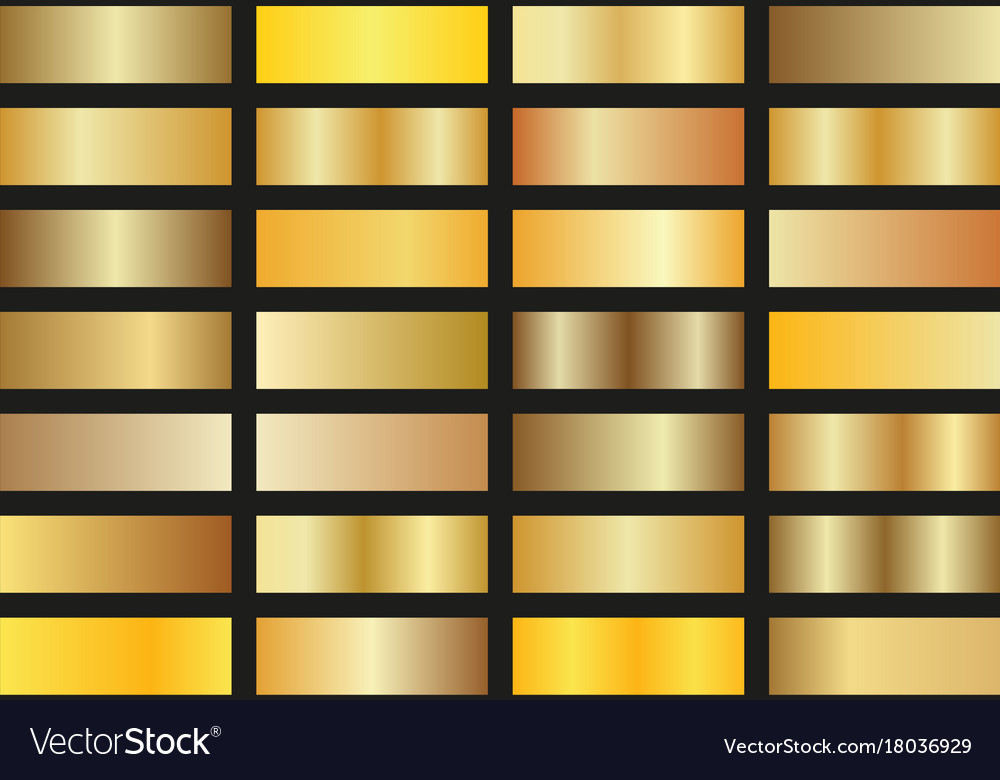 Set of gold gradients on black background shiny