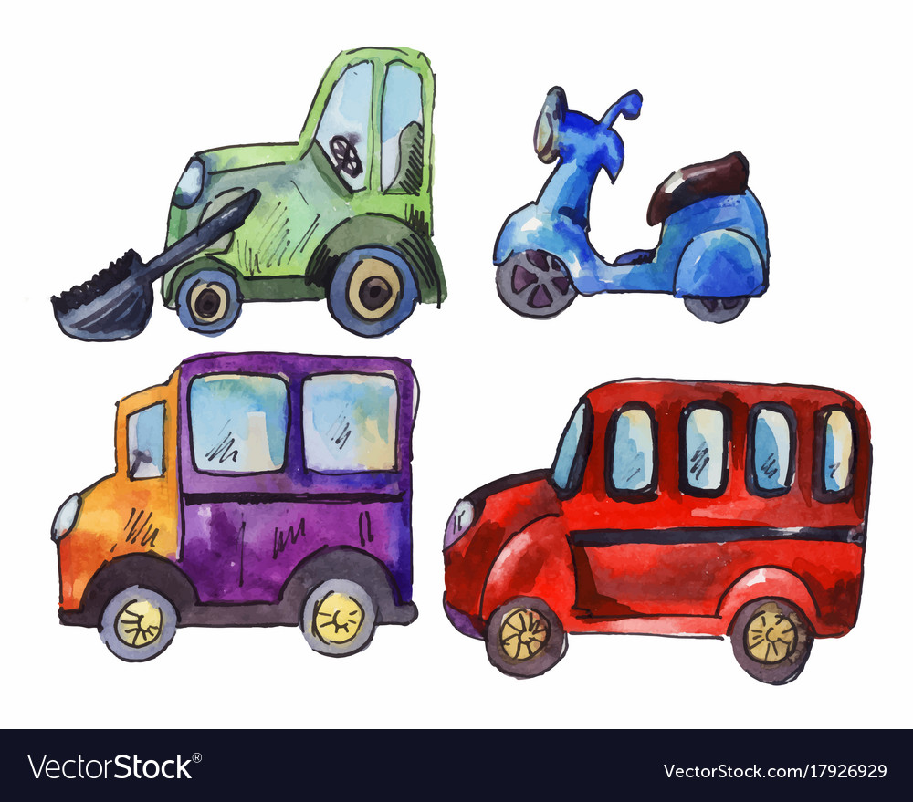 Set Of Watercolor Car Stickers Royalty Free Vector Image