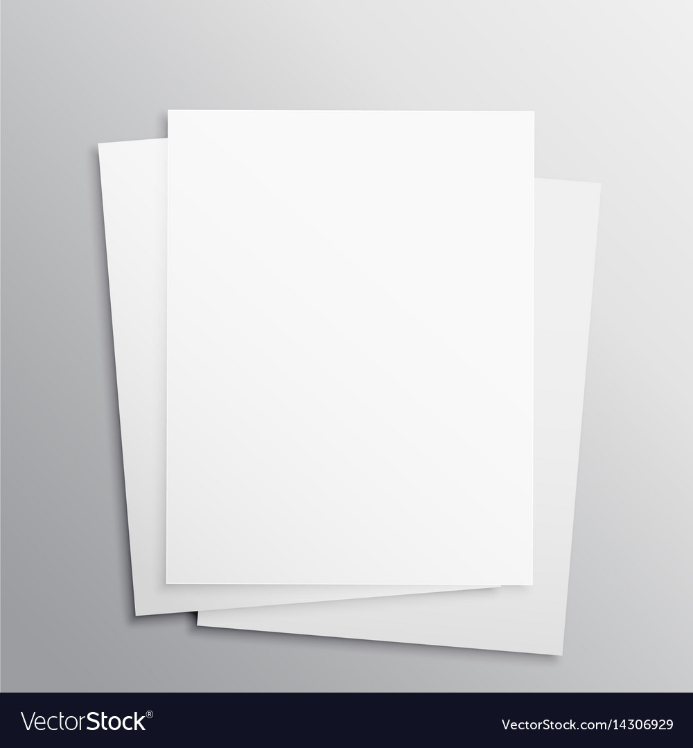 Stack of three empty papers mockup template vector image