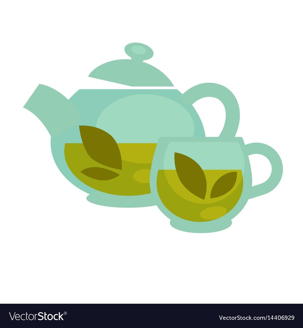 Transparent tea cup and pot vector image