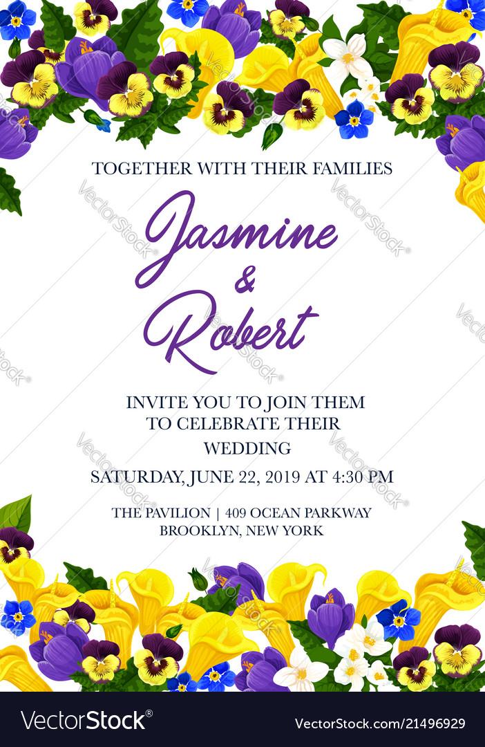 Wedding Invitation Festive Card With Flower Border