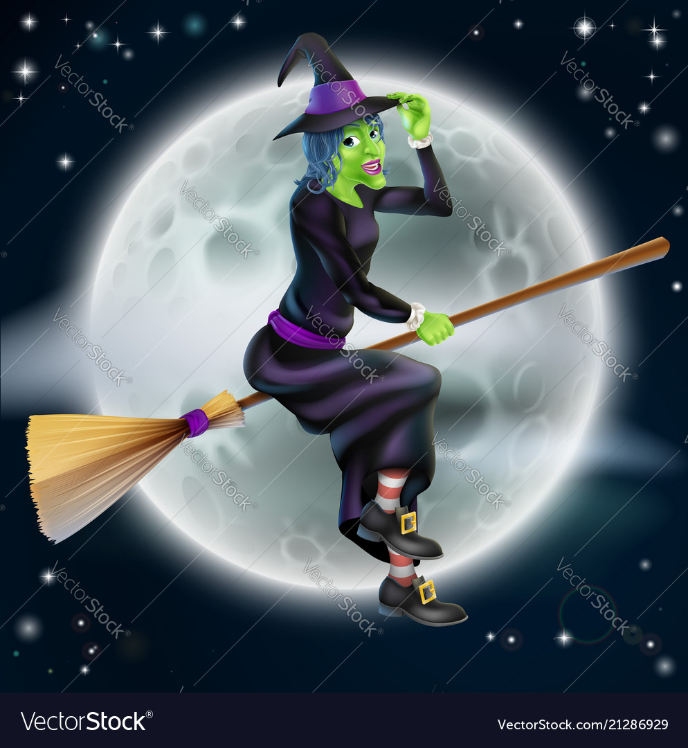Witch flying in front of the moon