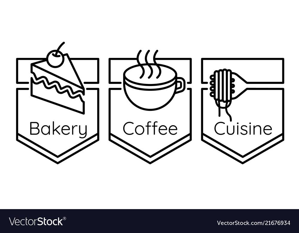 Bakery coffee cuisine logo set