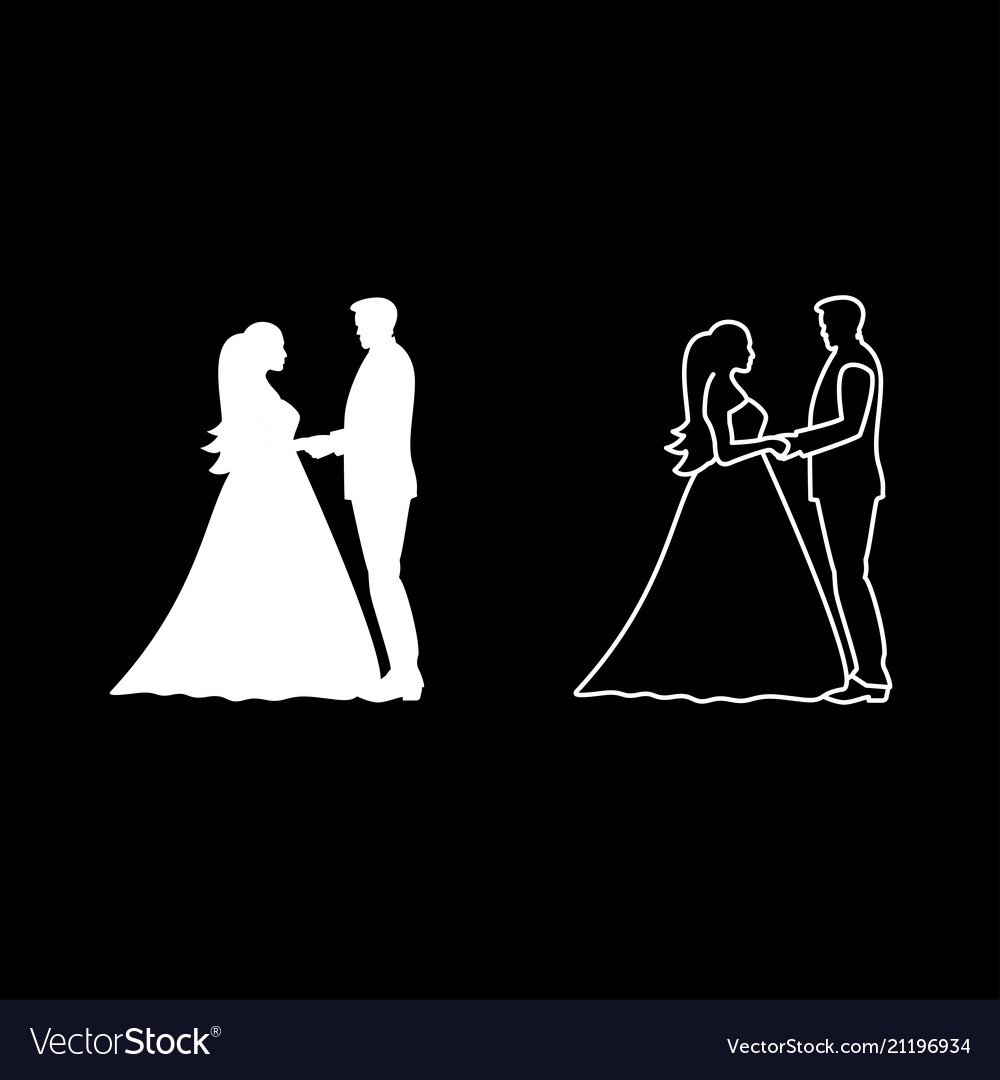 Bride and groom holding hands icon set white