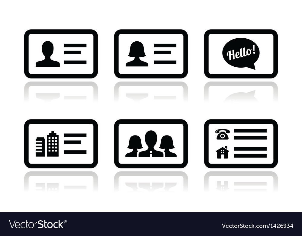 Business card icons set royalty free vector image business card icons set vector image reheart Images