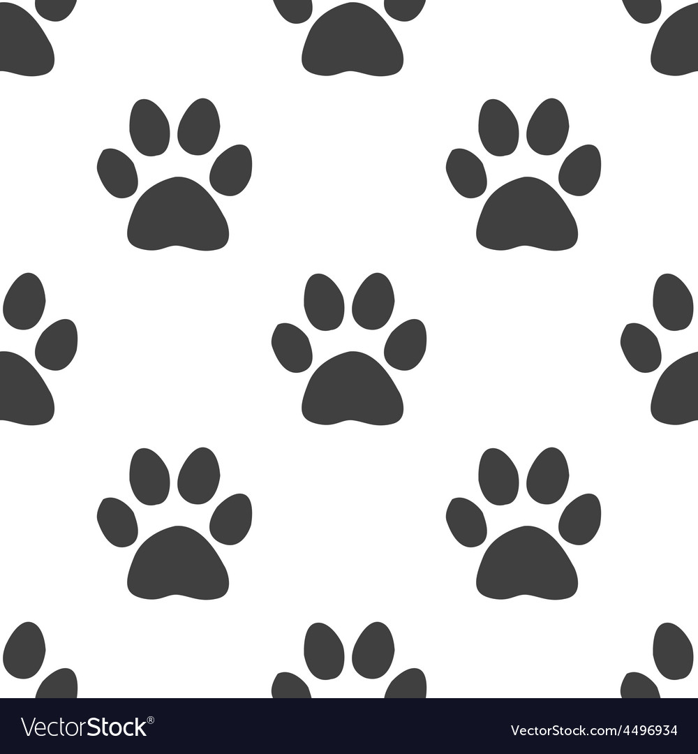 Cat footprint seamless pattern vector image
