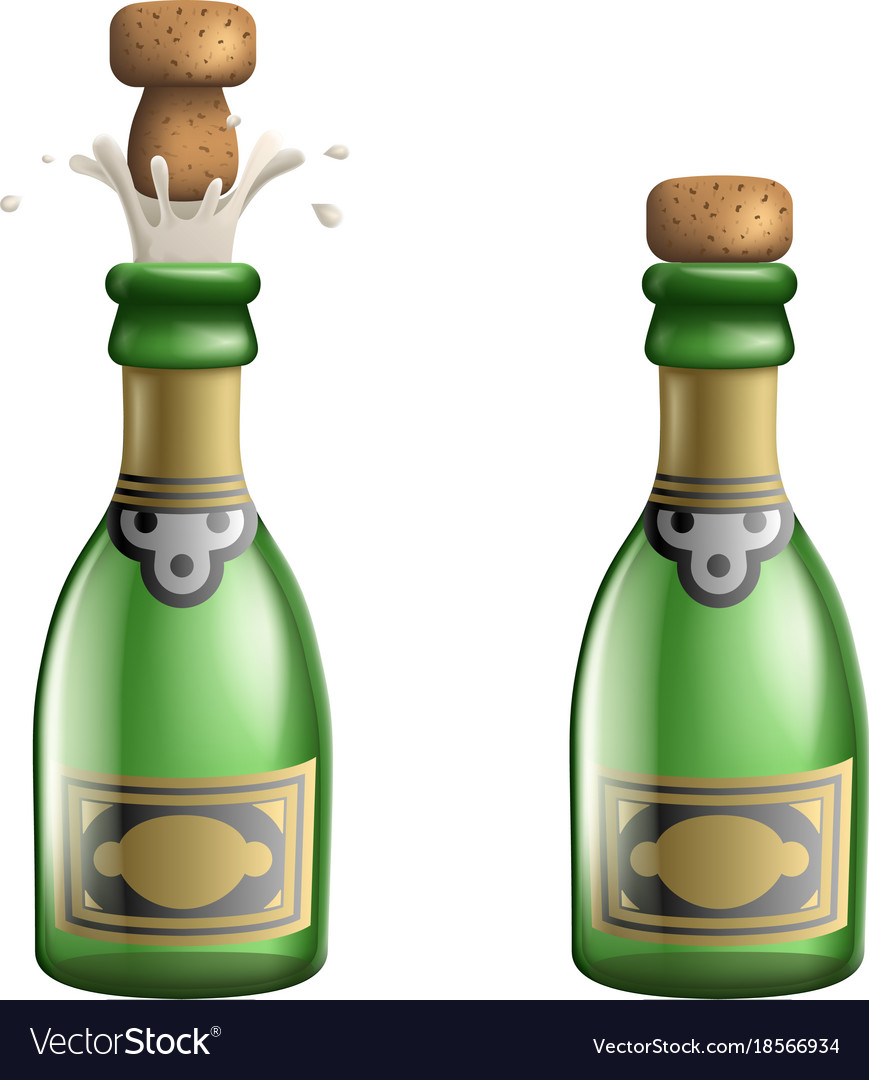 Champagne popping cork bottle pledge celebration vector image
