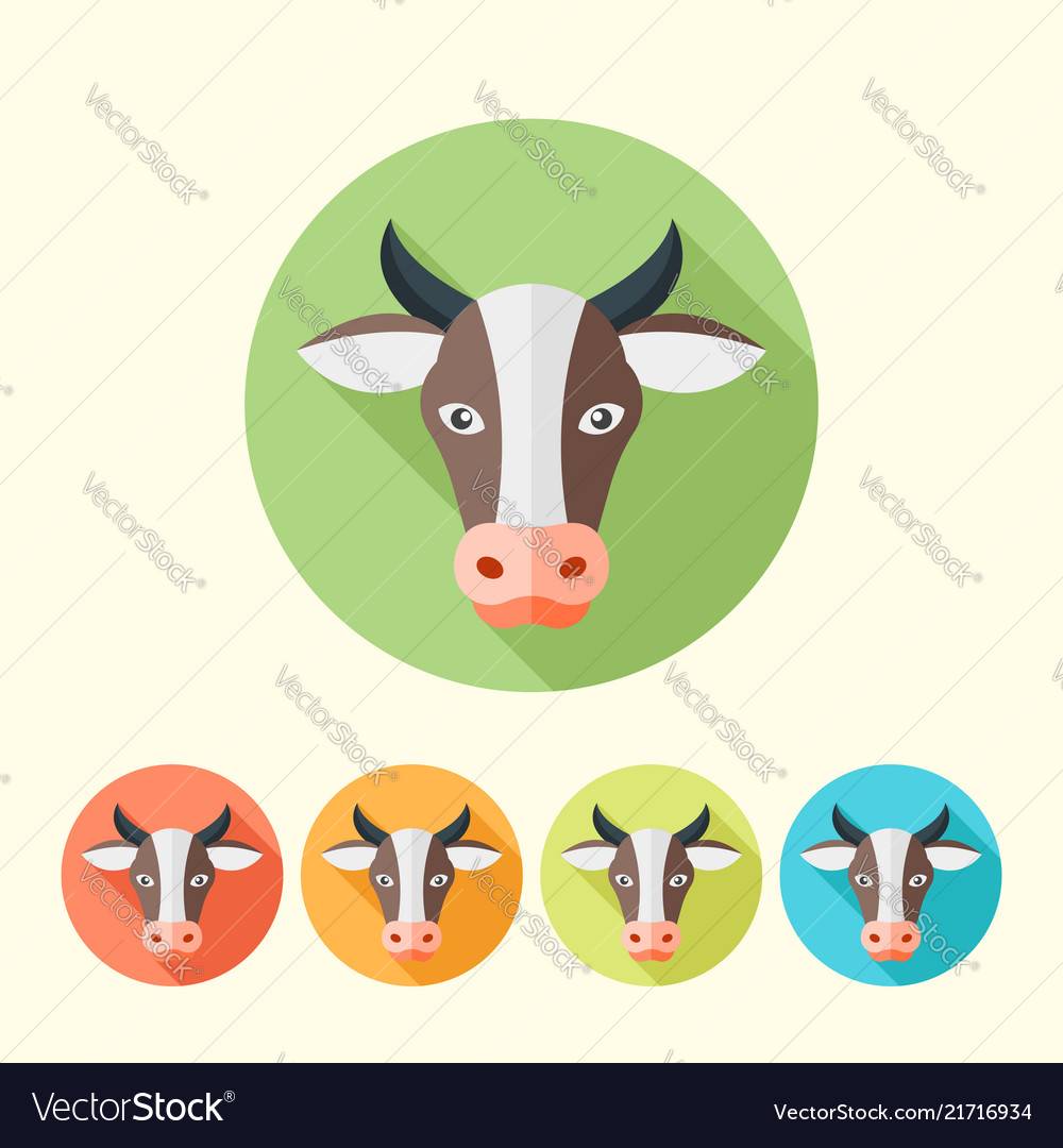 Cow head flat round icons with long shadow