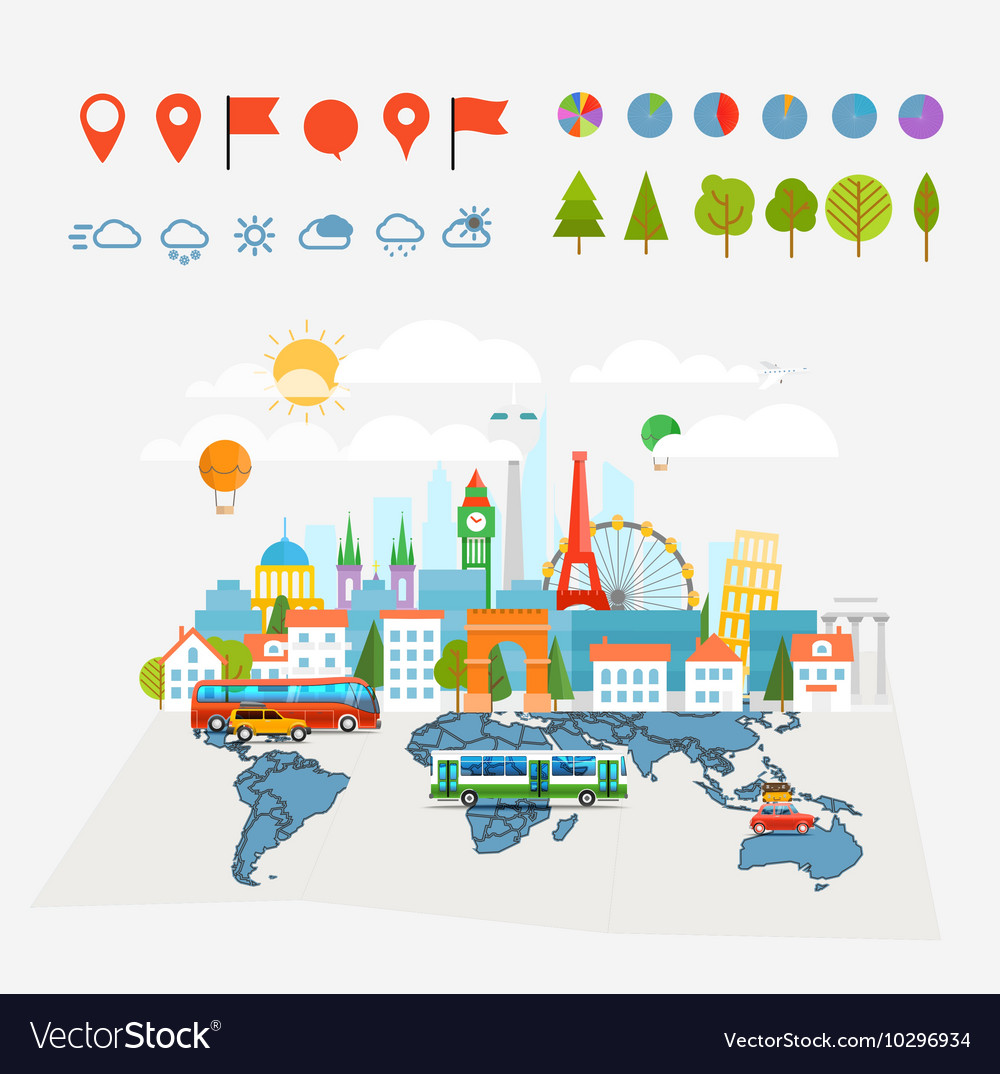 Earth maps map and different buildings and