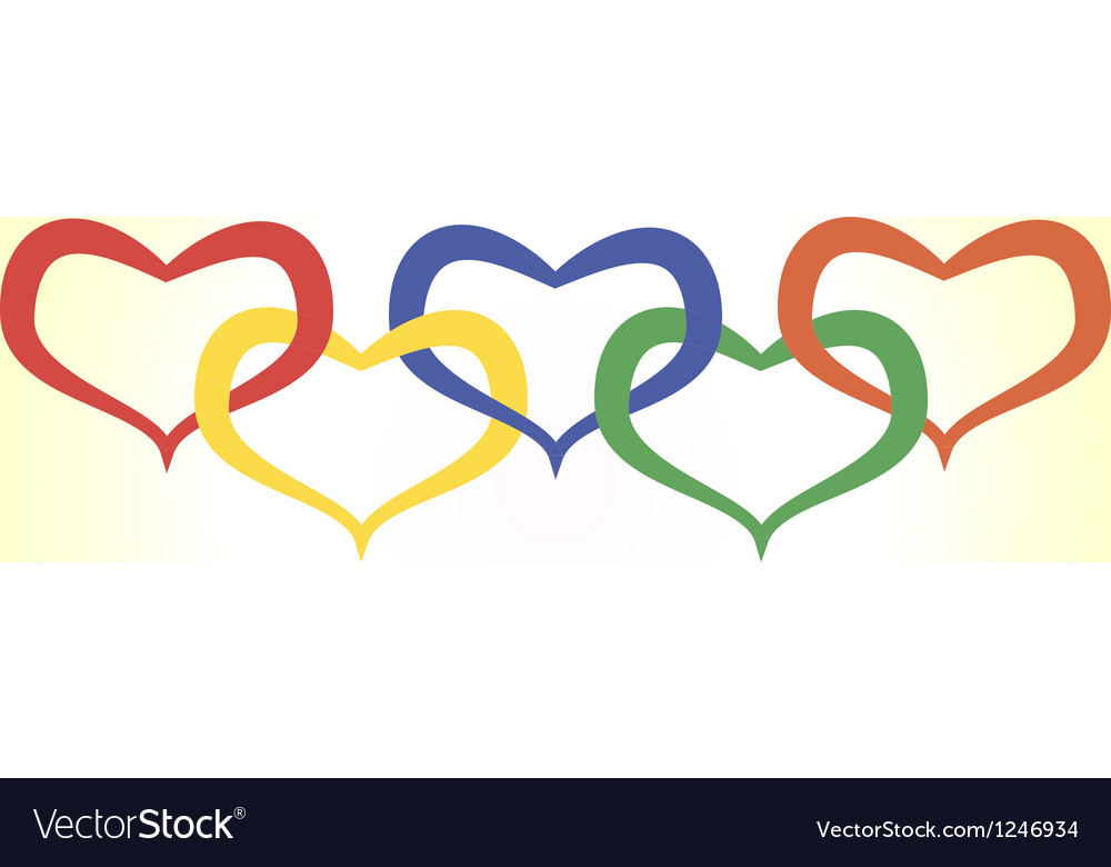 Hearts in olympic style vector image