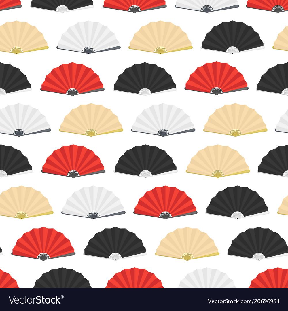 Japanese folding paper fan seamless pattern