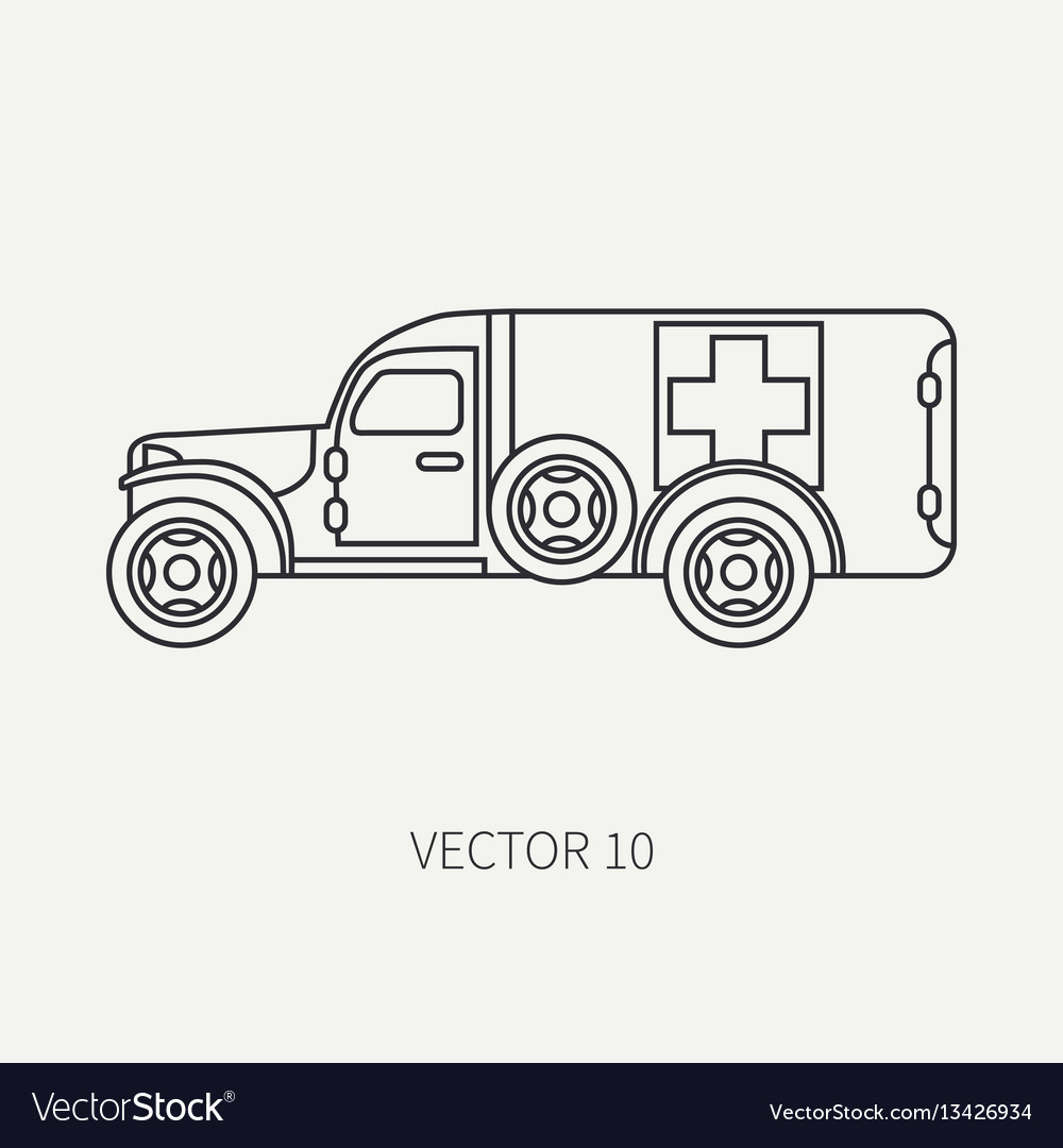 Line flat plain icon ambulance army van vector image