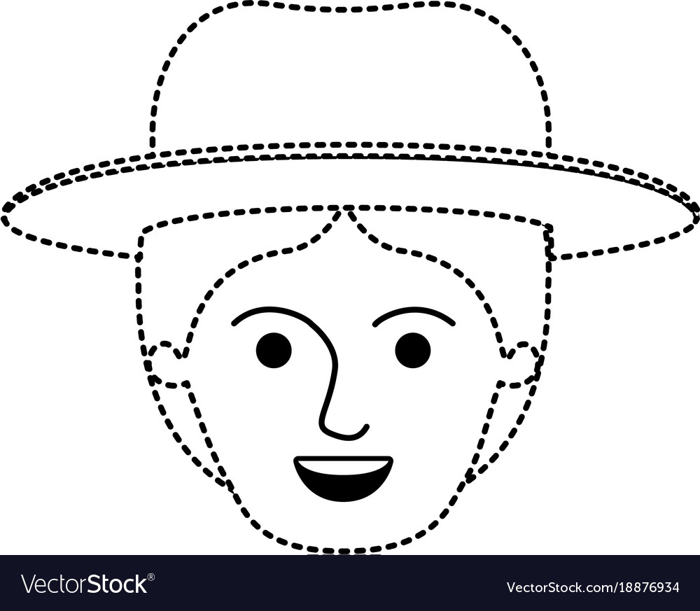 Male Face With Hat And Middle Part Hairstyle In Vector Image