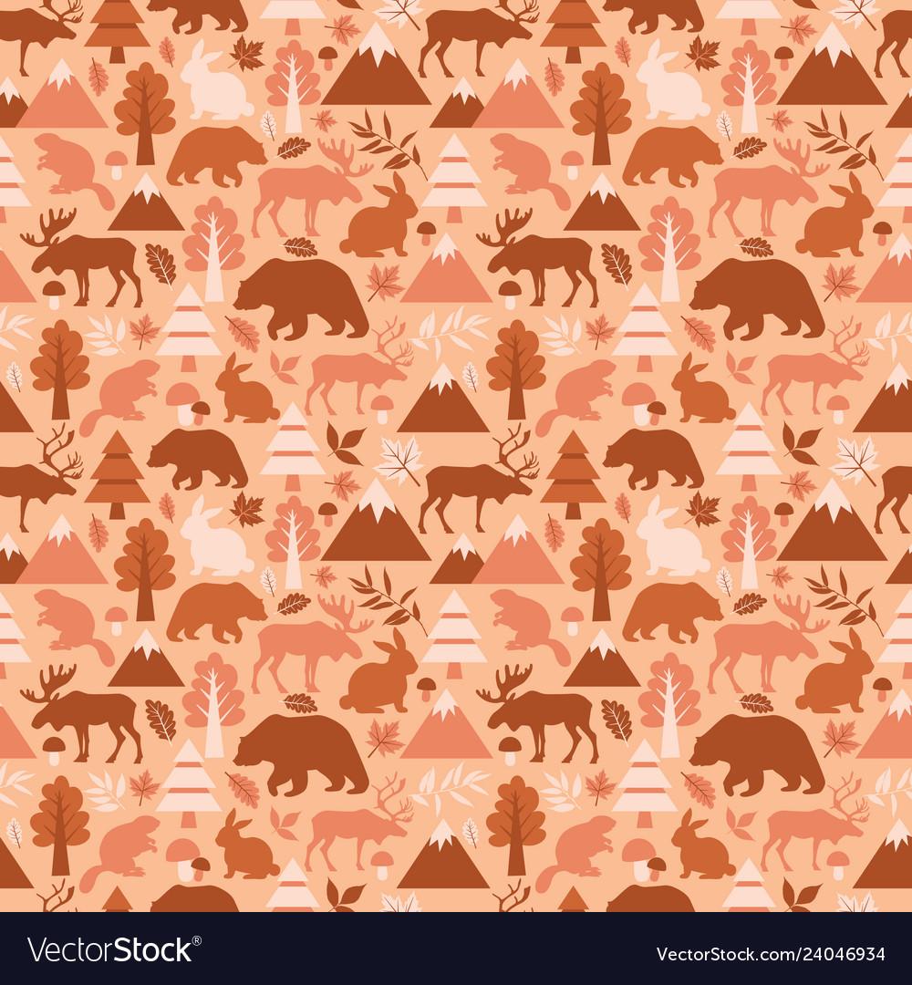 Seamless pattern with cute cartoon elks deers