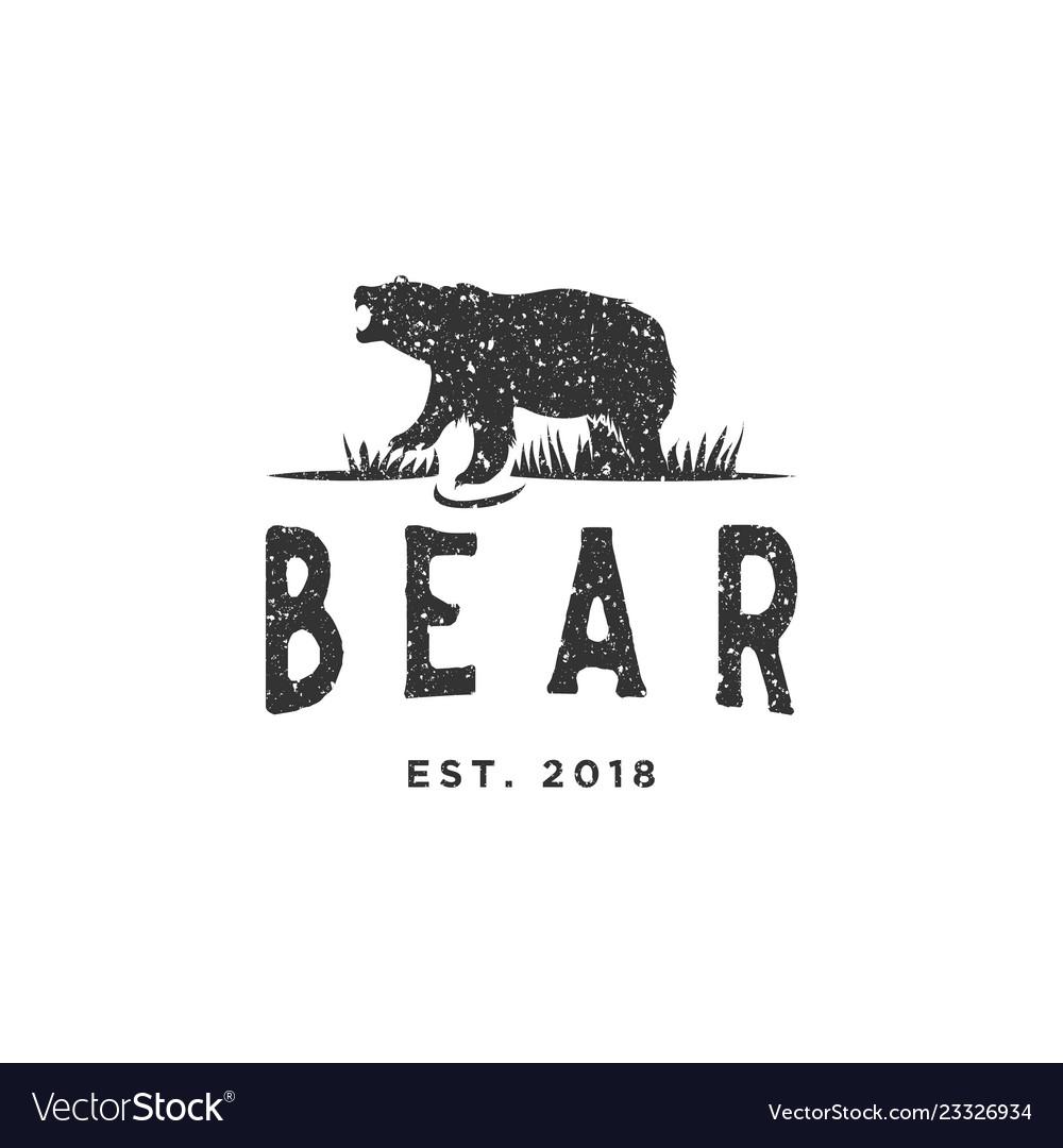 Vintage bear logo design inspiration with grunge